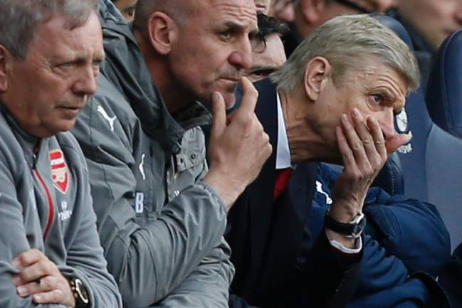 Familiar look: Arsenal's French manager Arsene Wenger reacts during the second half during the English Premier League football match against Tottenham Hotspur.