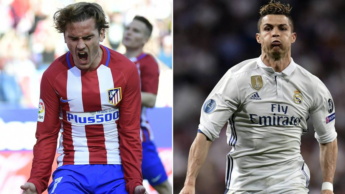 Atletico Madrid's French forward Antoine Griezmann and Real Madrid's Portuguese forward Cristiano Ronaldo: UEFA Champions League semi-final.