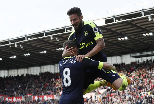 Olivier Giroud celebrates finding the target in the weekend win over Stoke.