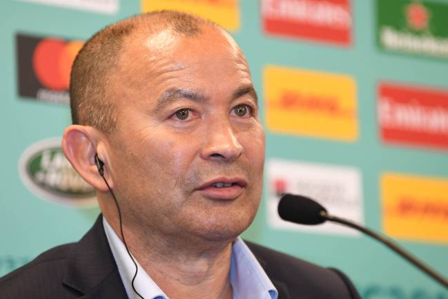 Eddie Jones head coach of England attends a press conference after the Rugby World Cup Pool Draw at the Kyoto State Guest House on May 10, 2017 in Kyoto, Japan.