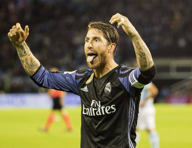 Sergio Ramos celebrates after victory over Celta Vigo on Wednesday night.