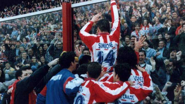 Olé olé olé... Scenes at the Calderón as Atlético do the double, 1996.