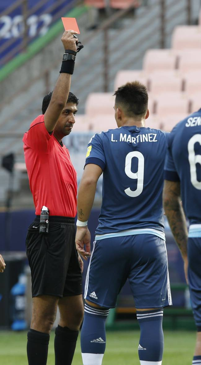 Lautaro Martínez was sent off for a stray elbow as Argentina lost 3-0 to England in the U20 World Cup in Korea, becoming the first video ref red recipient.