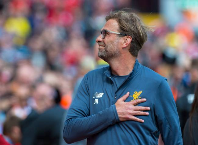 Liverpool's manager Jürgen Klopp reacts as Liverpool take apart Middlesbrough at Anfield.