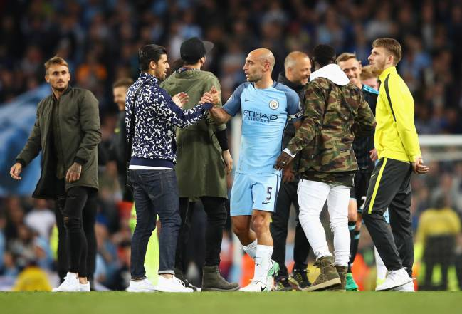 Manchester City's Nolito shakes hands with Pablo Zabaleta after the final Premier League match of 2016/17, against West Bromwich Albion.