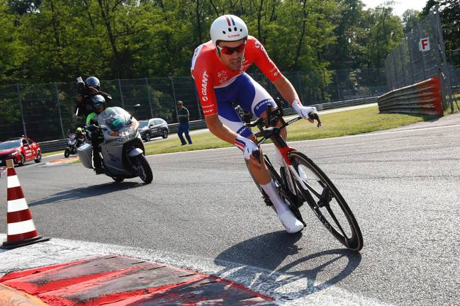 Tom Dumoulin in action during the Individual time-trial between Monza and Milan.