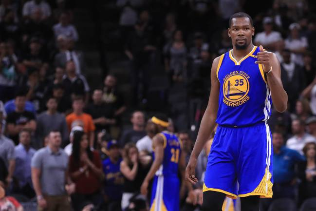 Kevin Durant of the Golden State Warriors reacts in the second half against the San Antonio Spurs during Game Four of the 2017 NBA Western Conference Finals