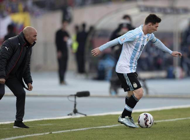 Argentina's forward Lionel Messi and then-Chile coach Jorge Sampaoli