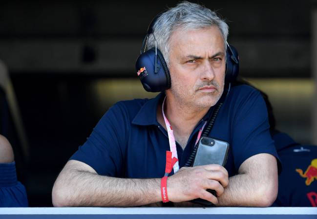 Manchester United's Portuguese manager Jose Mourinho watches the qualifying session at the Monaco street circuit, on May 27, 2017 in Monaco, a day ahead of the Monaco Formula 1 Grand Prix.