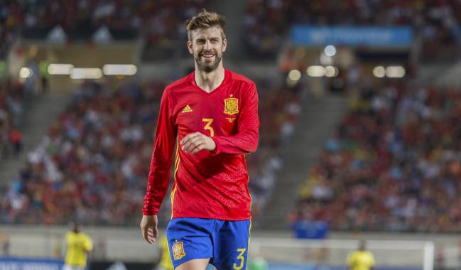 Gerard Piqué during the friendly with Colombia.