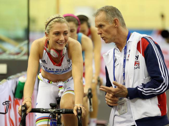 Shane Sutton with Laura Trott.