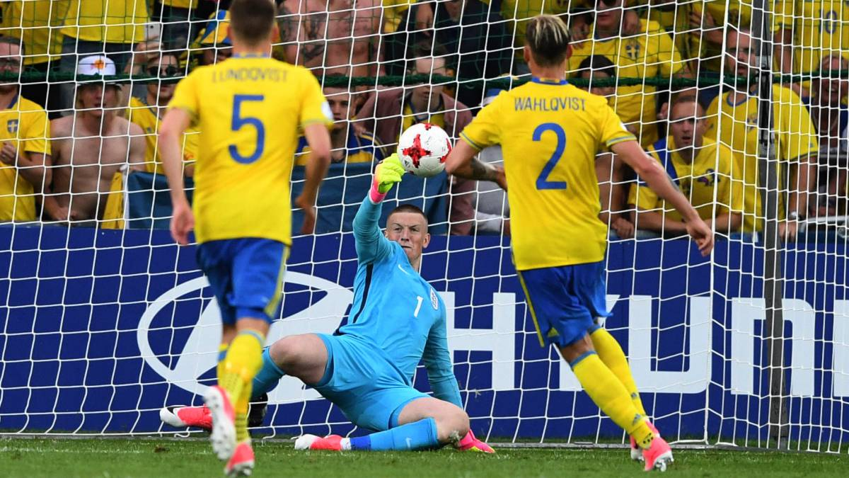England and Sweden saw out a goal-less draw in the opening match of the 2017 Under 21 European Championships, with Jordan Pickford saving a penalty.