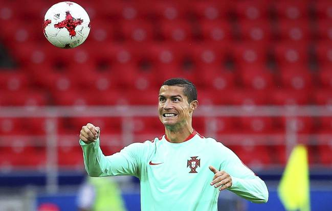 Cristiano Ronaldo in training with Portugal in Moscow yesterday.