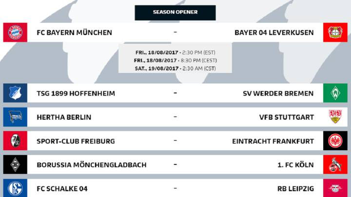 Bundesliga 2017 18 Fixtures Confirmed As Com