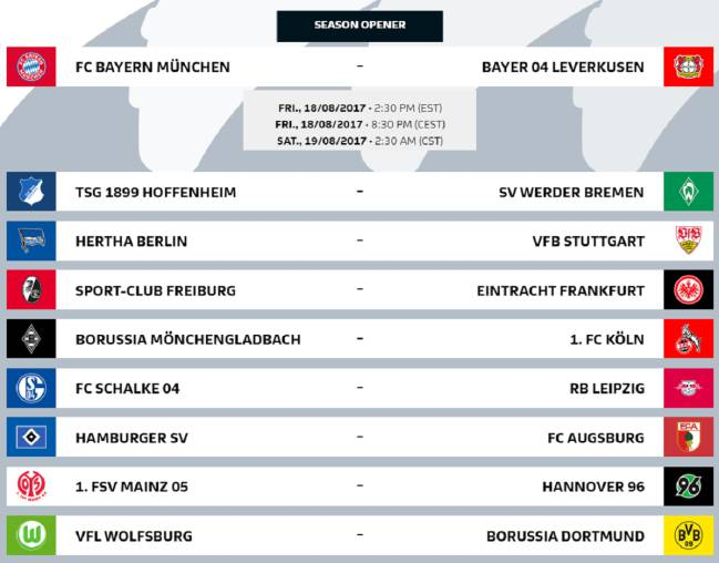 Bundesliga 2017/18 fixtures confirmed