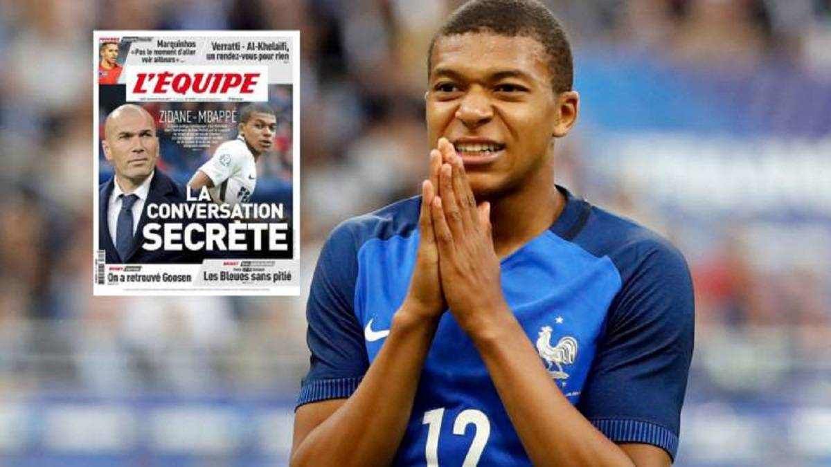 L'Équipe: Zidane has spoken with Mbappé to convince him to sign for Real Madrid