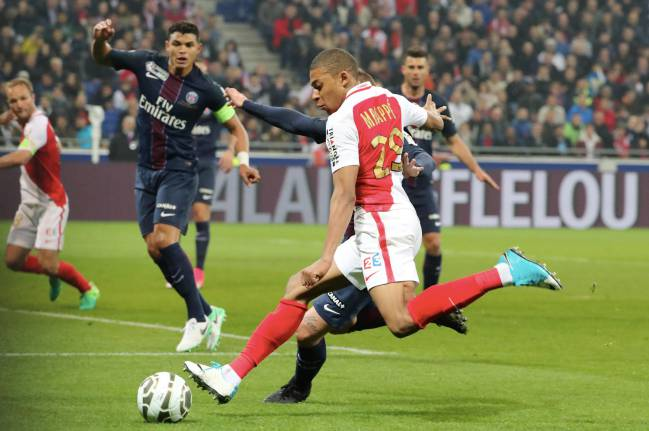 Monaco's Kylian Mbappe in action during the French League Cup Final match against Paris Saint-Germain.