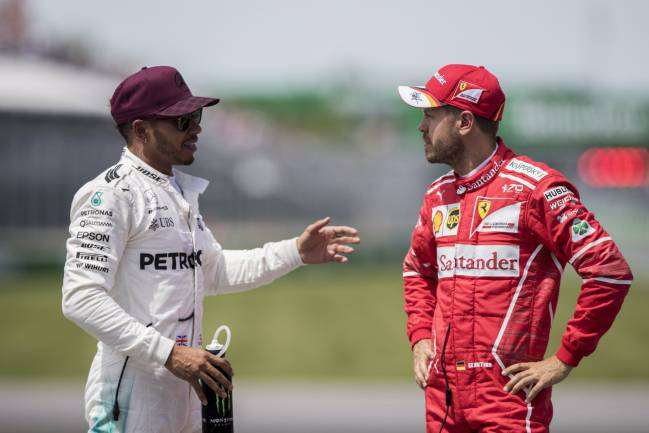Montreal (Canada), 10/06/2017.- Lewis Hamilton chats to Sebastian Vettel and things seemed good.