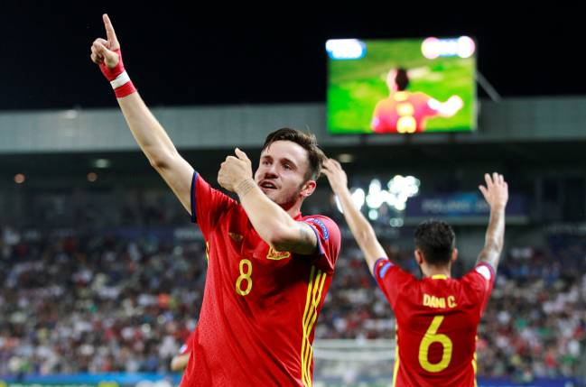 Spain's Saul Niguez celebrates after scoring a goal