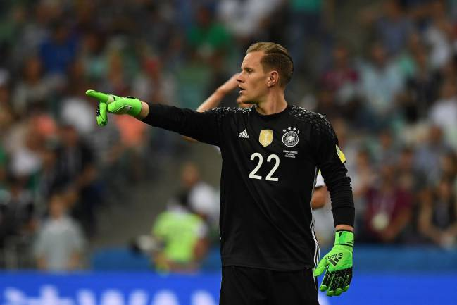 Germany's goalkeeper Marc-Andre Ter Stegen gestures during the 2017 FIFA Confederations Cup semi-final