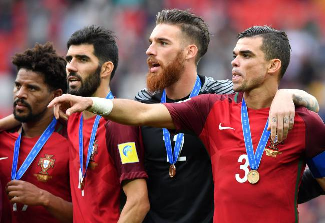 Portugal's Eliseu,Luis Neto,goalkeeper Jose Sa and Pepe celebrate at the end of the 2017 FIFA Confederations Cup third place match.