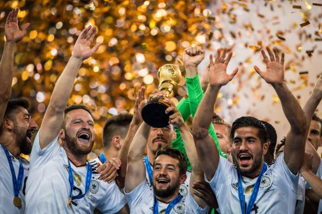 Germany hold the trophy aloft after winning the FIFA Confederations Cup.
