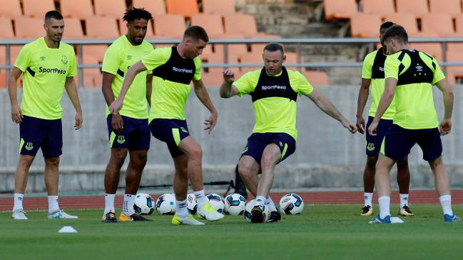Everton training at the National stadium in Dar es Salaam.