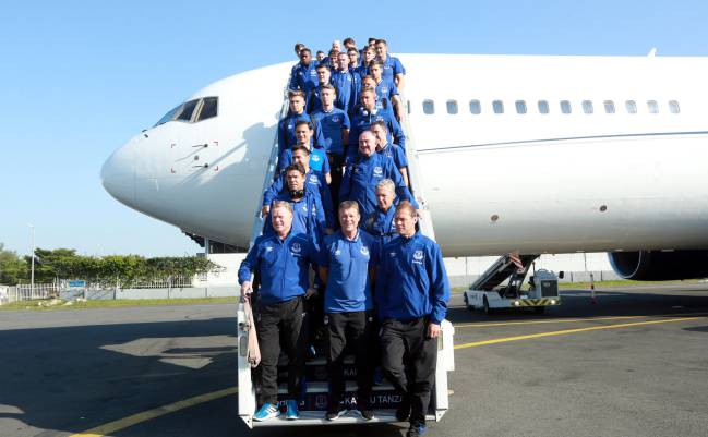 Everton on arrival at the Julius Nyerere International Airport, Tanzania.