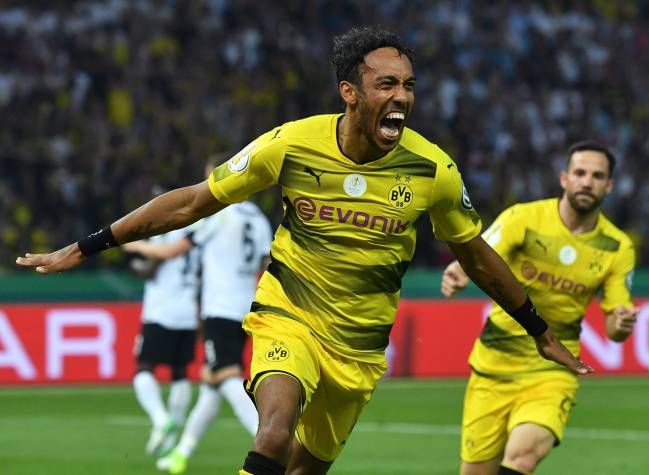 Pierre-Emerick Aubameyang celebrates scoring in the German Cup (DFB Pokal) final in May.