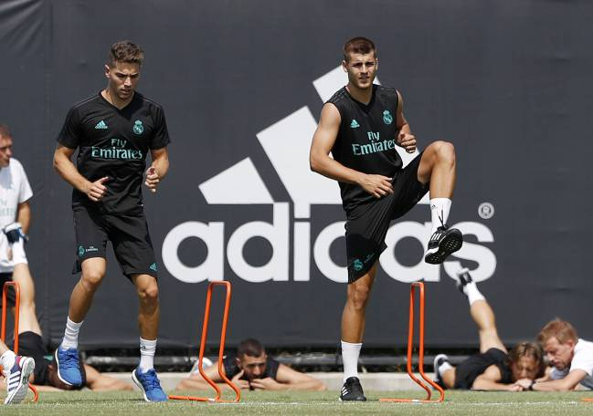 Los Angeles, Real Madrid preseason training for Morata right now.