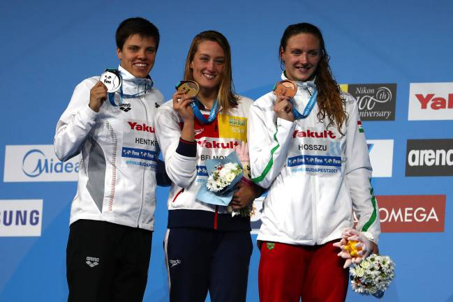 Franziska Hentke, Mireia Belmonte and Katinka Hosszu on the podium.