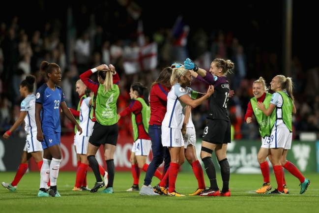 The England team celebrate victory after the UEFA Women's Euro 2017 Quarter Final match against France.