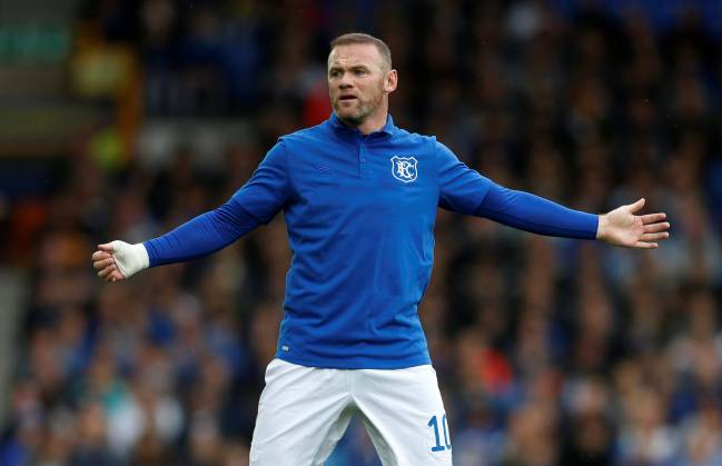 Everton's Wayne Rooney reacts