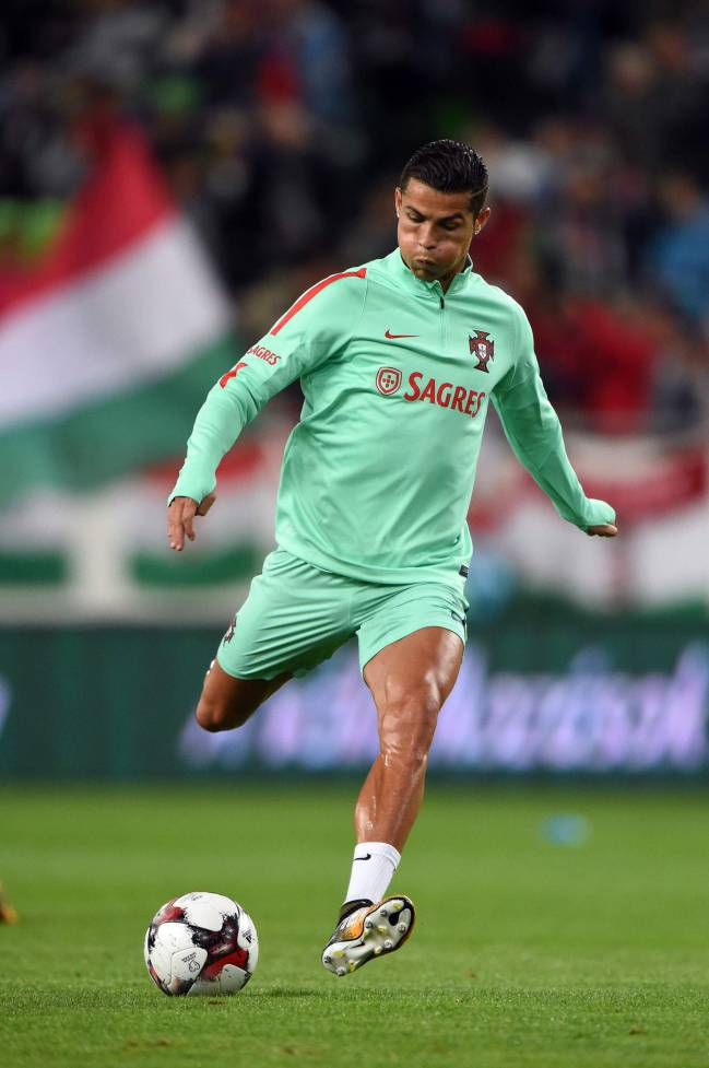 Ronaldo plays the ball prior to the FIFA World Cup 2018 qualification football match