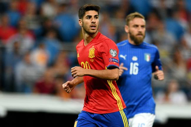 Marco Asensio on duty for Spain in the recent 2018 World Cup qualifier against Italy.