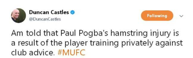 Mourinho furious with Pogba over injury