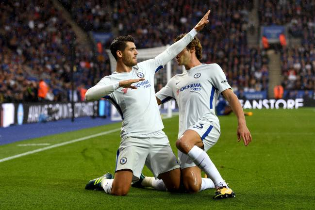 Álvaro Morata opens the Chelsea scoring in the Premier League match against Leicester City.