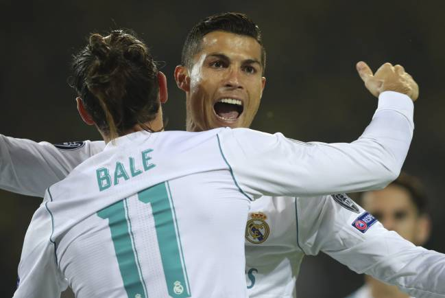 Cristiano Ronaldo scored twice and Gareth Bale hit a sumptuous volley as Real Madrid soared to victory against Borussia Dortmund. Aubameyang scored for the home side.
