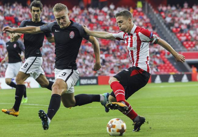 Athletic de Bilbao Iker Muniain in action before the painful ending to the game against Zorya.