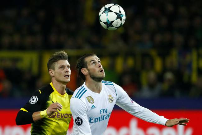 Real Madrid's Gareth Bale in action against Borussia Dortmund.