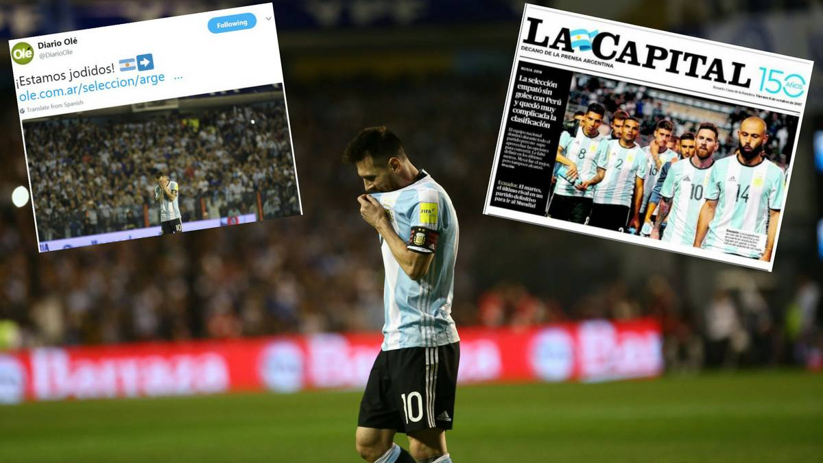 "Argentinean press conclude after Peru draw: ""We're f*cked"""