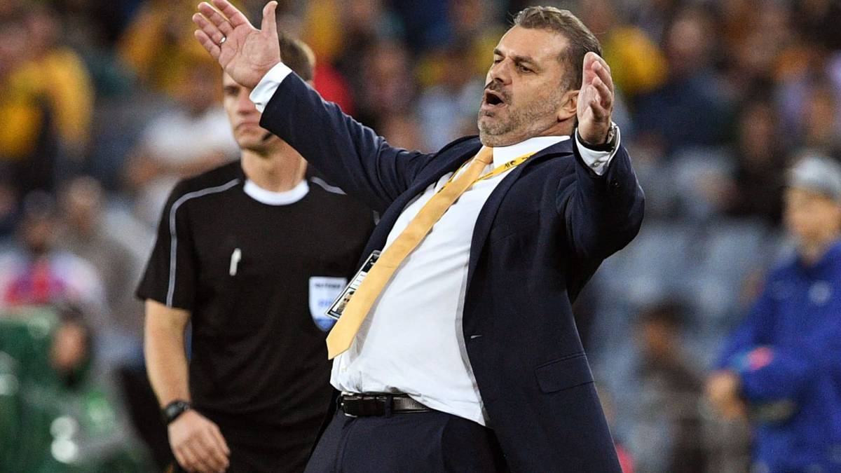 Australia's coach Ange Postecoglou reacts during their 2018 World Cup football qualifying match against Syria
