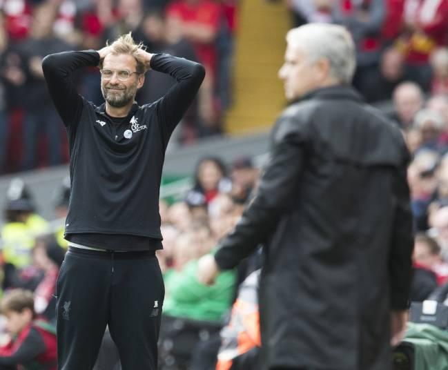 Contrast | Klopp and Mourinho seem to have very different views on how the game should be played.