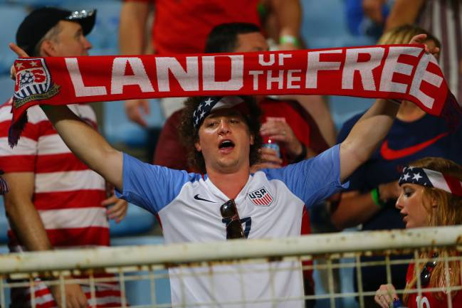 No passport required | A USA fan during the game against Trinidad and Tobago.