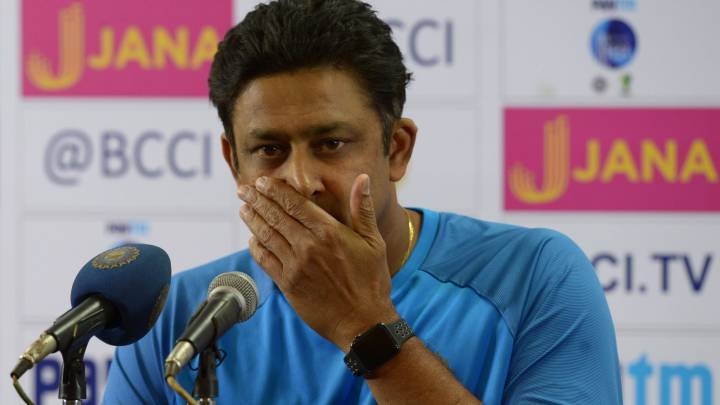 Indian cricket coach Anil Kumble addresses a press conference