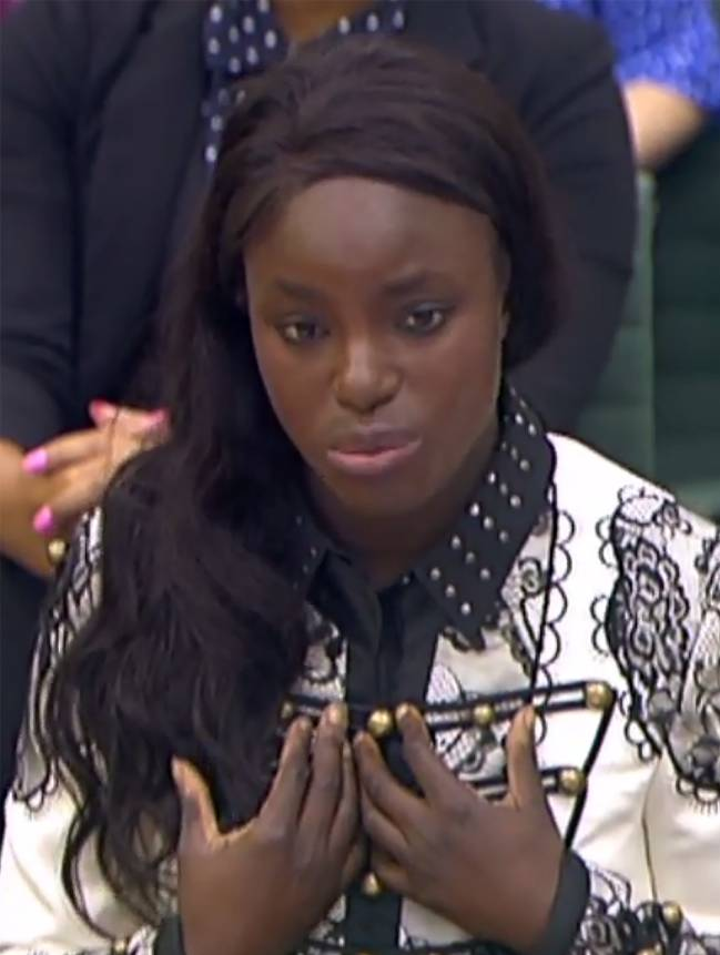 In a still image take from footage broadcast by the UK Parliamentary Recording Unit of Eniola Aluko as she gives evidence to the Digital, Culture, Media and Sport select committee of MPs at the Houses of Parliament in London on October 18, 2017.