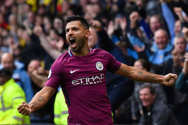 Goal galore | Manchester City's Argentinian striker Sergio Aguero doing it again.