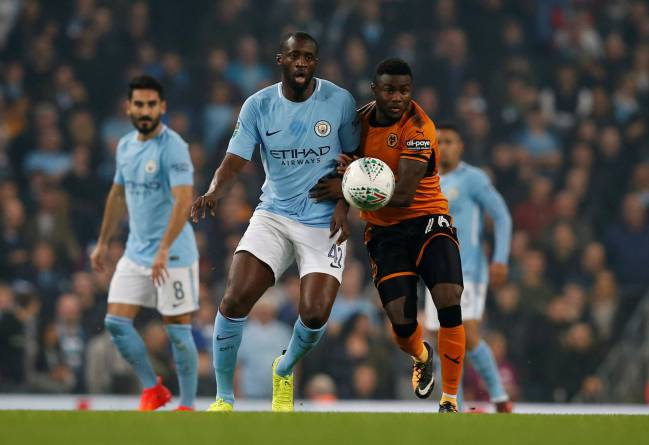 Manchester City's Yaya Toure in action with that ball Wolverhampton Wanderers.