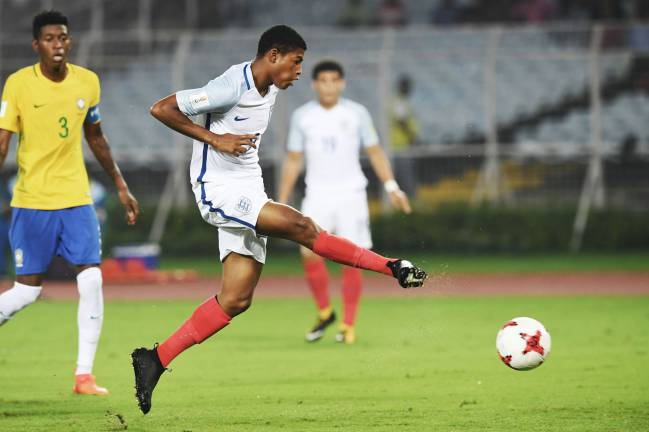 England's Rhian Brewster sticks it away against Brazil during the semi-final of the Fifa U-17 World Cup.