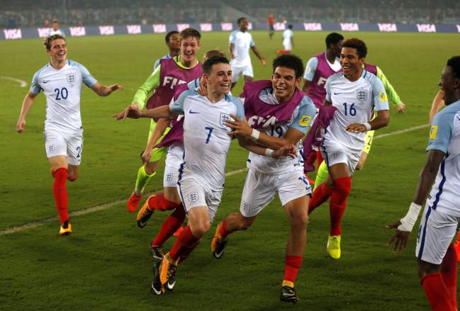 England's Phil Foden celebrates one of his two goals against Spain